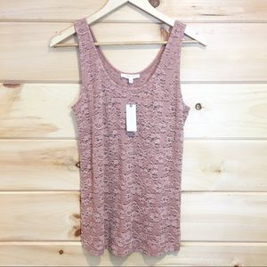 Anthropologie | Pure Gold pink lace tank top, L
